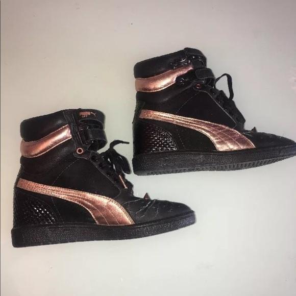 Puma Sky Black Rose Gold Wedge Spiked Sneakers